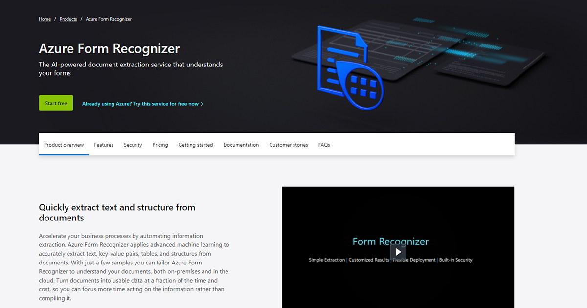 Azure Computer Vision and Form Recognizer API